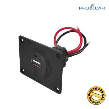 ProCar Vgradna USB vtičnica 12V/5V z montažno ploščo