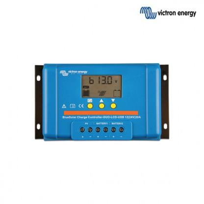 Dvojni solarni regulator Victron BlueSolar PWM LCD DUO 12/24V, 20A, USB izhod